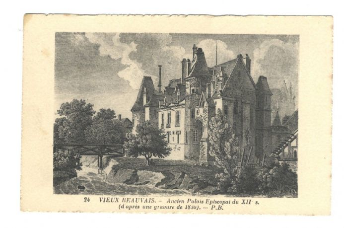 1920 circa POSTCARD Beauvais France LEVY NEURDEIN Bishops Palace DECKLE EDGE Engraved